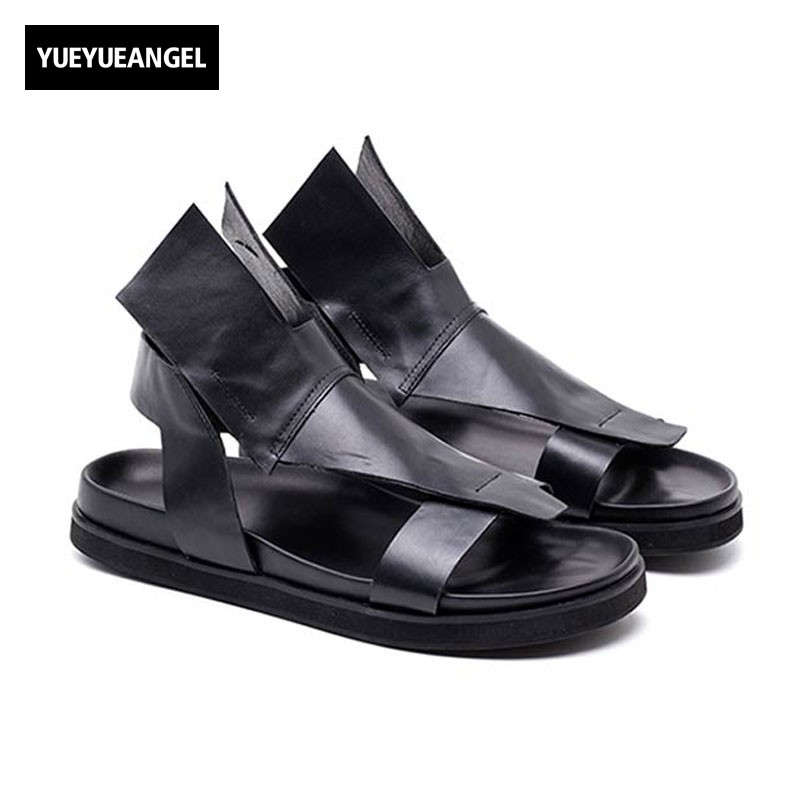 2018 Italy New Summer Men Gladiator Beach Sandals Casual Genuine Leather Personality Open Toes Thick Platform Shoes Male Sandals