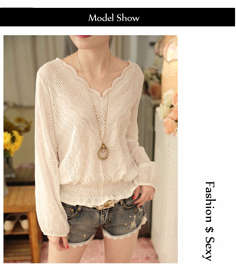 Blusas Femininas 2016 Spring Autumn Women Fashion Plus Size Hollow out Lace Blouse Long Sleeve Sexy Loose White Tops Shirt A602 a