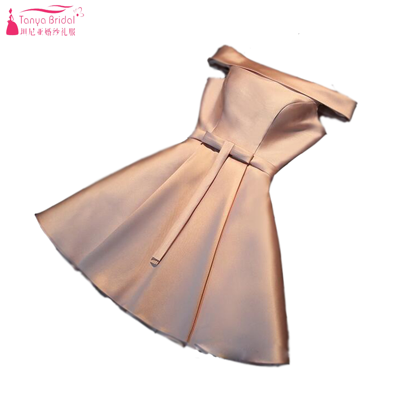 Mini Short Bridesmaid Dress Champagne Cheap Off Shoulder Lace Up Wedding Guest Dress Dynamic Dress African