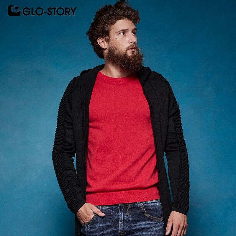 GLO-STORY отправлены из ЕС Для мужчин 2018 осень кардиган с капюшоном человек хип-хоп мода рукавами свитер с рюшами Пальто MMY-6858