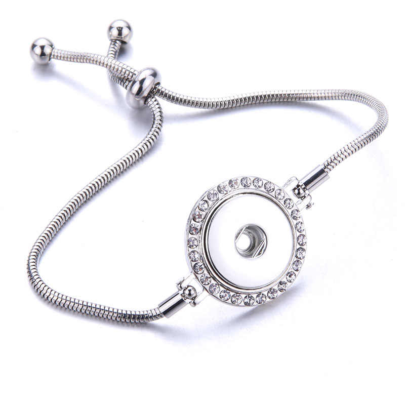 Baru Fashion Rantai Yang Dapat Disesuaikan Gelang Logam Snap Gelang Cocok 18 Mm/12 Mm Snap Tombol DIY Snap Perhiasan untuk wanita