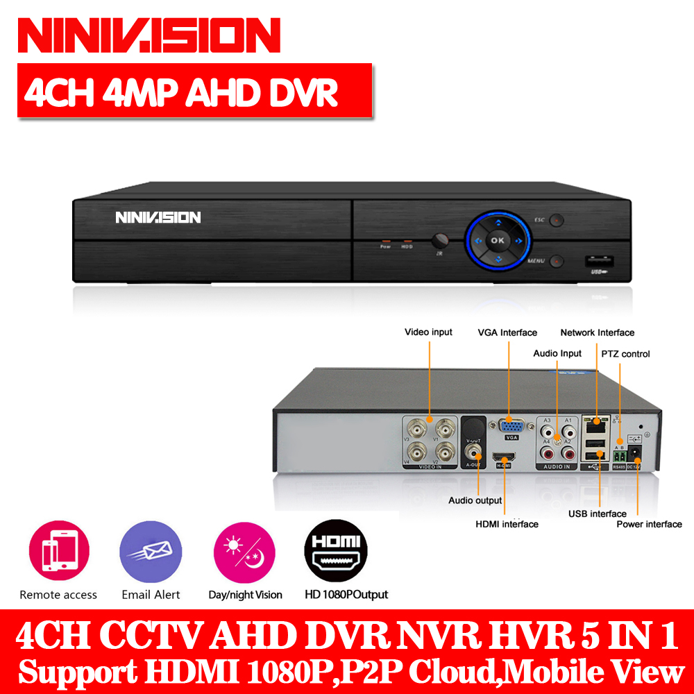 HD 5 IN 1 4MP AHD DVR NVR XVR CCTV 4Ch 1080P 3MP 4MP Hybrid Security DVR Recorder Camera Onvif RS485 Coxial Control P2P Cloud 5 in 1 4ch ahd dvr nvr hvr cctv 4ch 1080n hybrid security dvr recorder camera onvif rs485 coxial control p2p cloud
