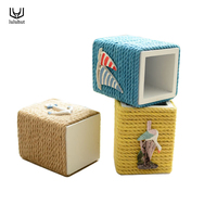 New Design Wood Cotton Rope Storage Box For Makeup Cosmetic Brush Pen Pencil Holder Office Stationary