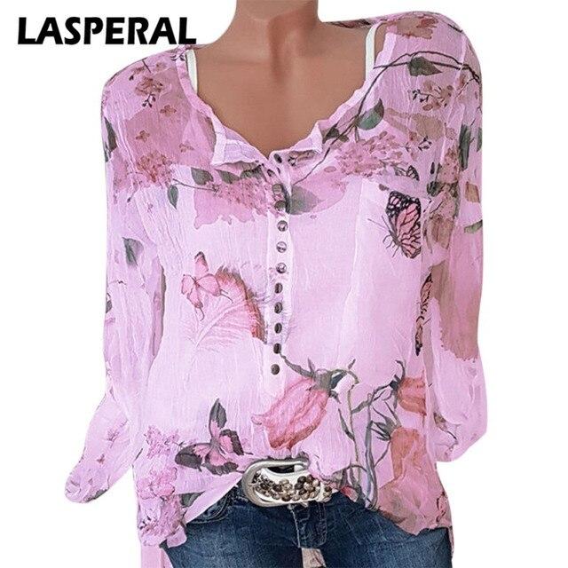 eacd69aa LASPERAL Plus Size 5XL Chiffon Shirt Women Autumn Casual Long Sleeve Button  Blouse Fashion Floral Print