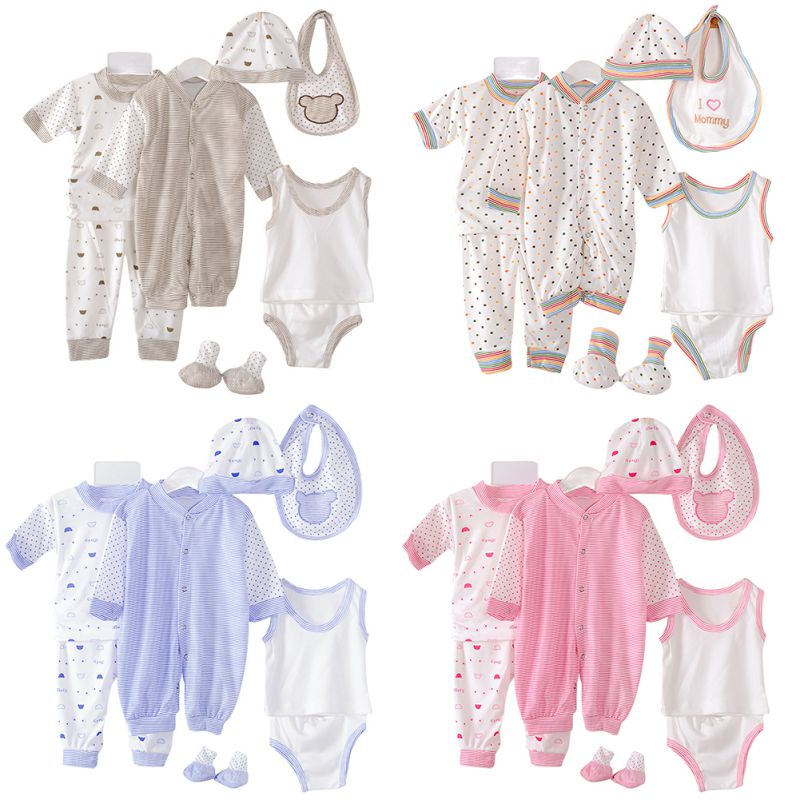 100 Cotton Newborn Baby Clothing Set Brand Baby Boy Girl Clothes Polka Dot Underwear 8pcs set for 0 3M baby in Clothing Sets from Mother Kids