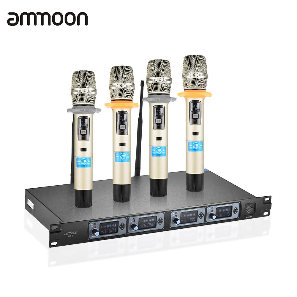 buy ammoon 4d b professional 4 channel uhf wireless handheld microphone system. Black Bedroom Furniture Sets. Home Design Ideas