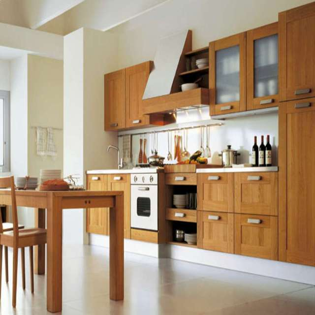 Modern Simple Style Light Brown Wooden Kitchen Cabinet-in