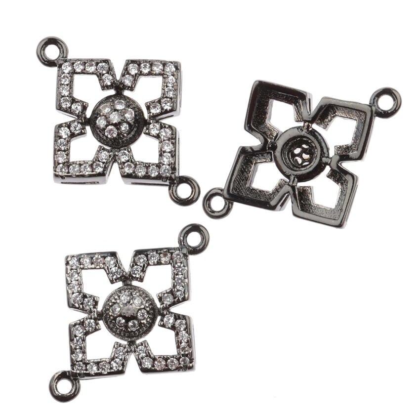 Flower Knot eye Connectors Jewelry Making Micro Pave CZ Rhinestone Charms Pendants Bracelet Necklace Jewellery Findings xx369