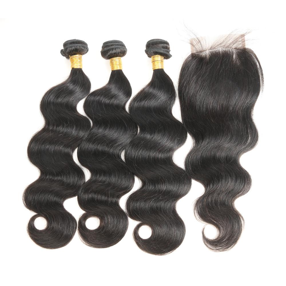 Peruvian Body Wave Hair Bundles With Lace Closure 100 Human Hair Bundles With Closure MIHAIR Remy