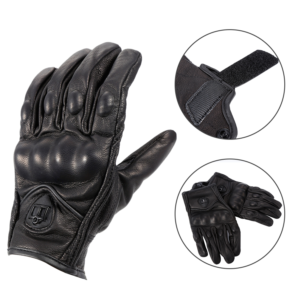 Real Leather Full Finger <font><b>Motorcycle</b></font> <font><b>Gloves</b></font> Black Not <font><b>Perforate</b></font> <font><b>Gloves</b></font> <font><b>Motorcycle</b></font> Cycling Racing Protect Gear Guantes Moto