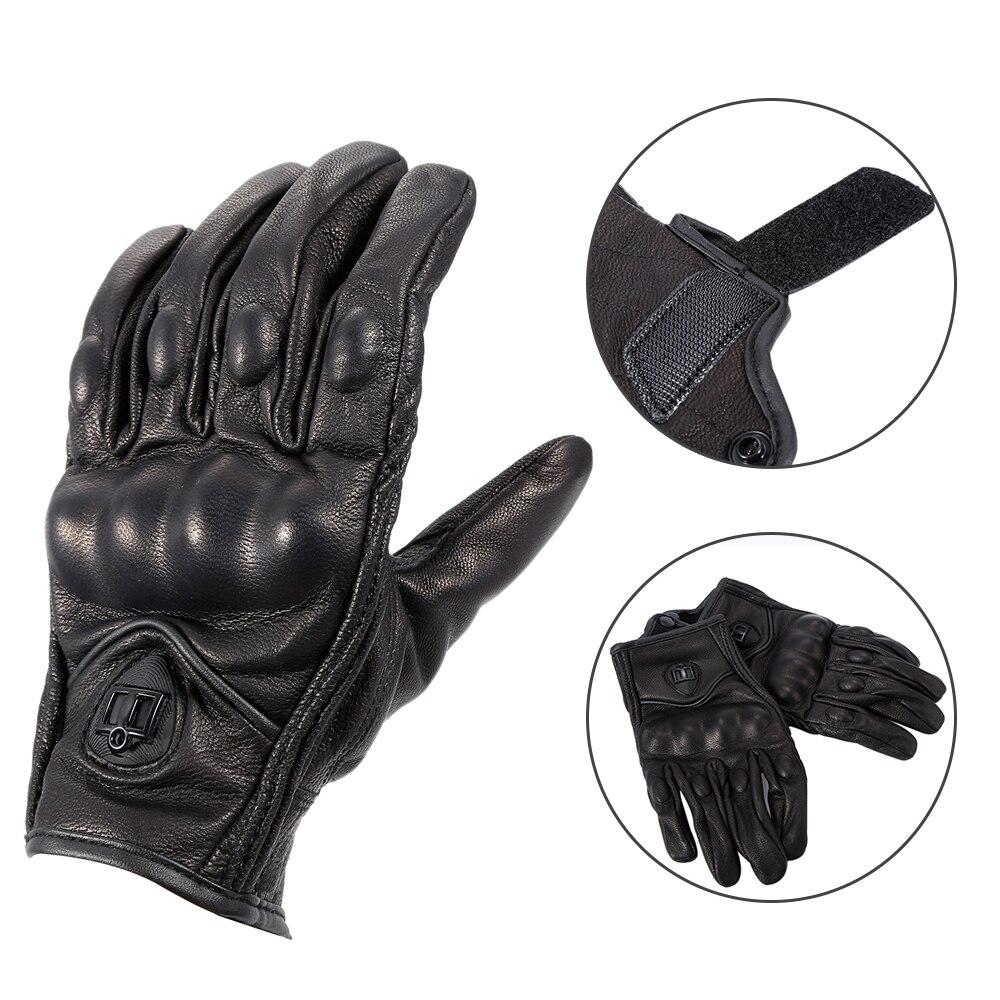 Vrai cuir complet doigt Moto gants noir pas perforé gants Moto cyclisme course protéger vitesse Guantes Moto