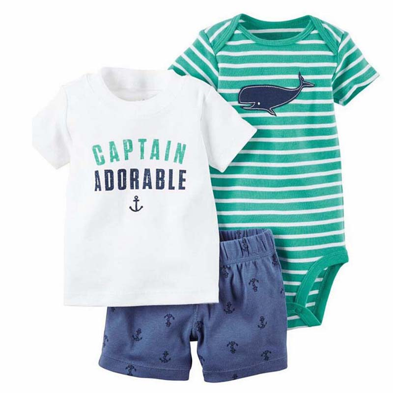 Newborn Infant Baby Boy clothes 3pcs set T-shirt + Bodysuit+ Shorts Toddle Baby girl 3 PCS Suit Kids girls clothing