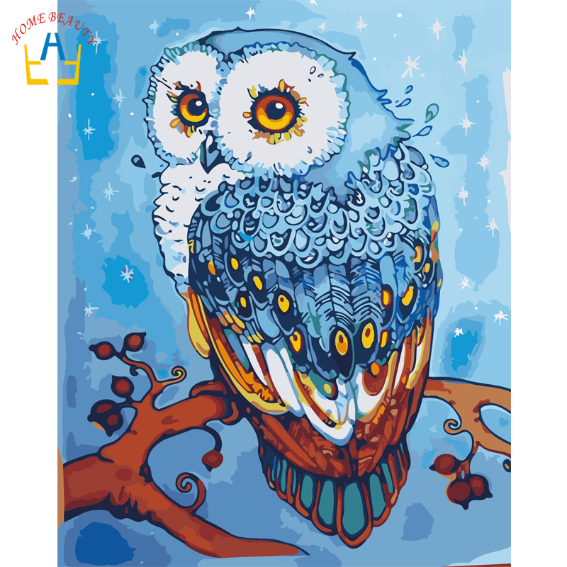HAUSE SCHÖNHEIT Ölgemälde Durch Zahlen Modulare Bild Eule Cartoon handbemalten Durch Nummer Wand Gemälde Wohnkultur Tier E994