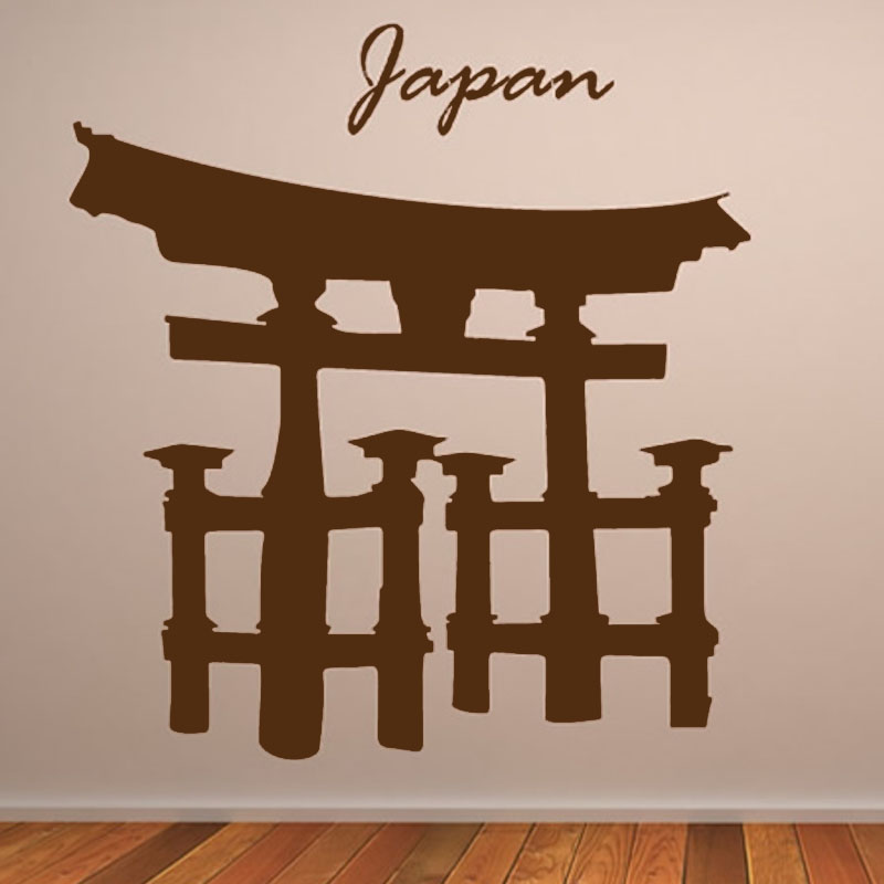 Religious Architecture Torii Gate Wall Decal Living Room Wall Decor Vinyl  Removable Japanese Wall Stickers(