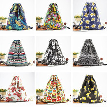 New 3D Printing Bag Women Canvas Drawstring Backpack  Vintage College Students School Bagpack Girls Mochila Feminina Sack Bags