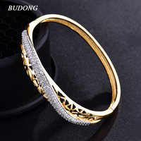 Valentine Fashion Twist Hollow Huggie Bangle For Women 18k Gold Platinum Plated Bracelet Crystal Zirconia Wedding