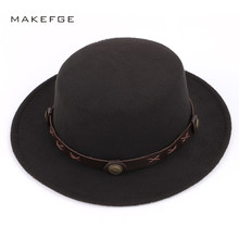 21d1853443dc3 2018 Fashion Ladies Solid Color Cylinder Fedora Autumn Winter Wool Vintage  Hats Man Woman Classic Women s Felt Hat Wide Brimmed