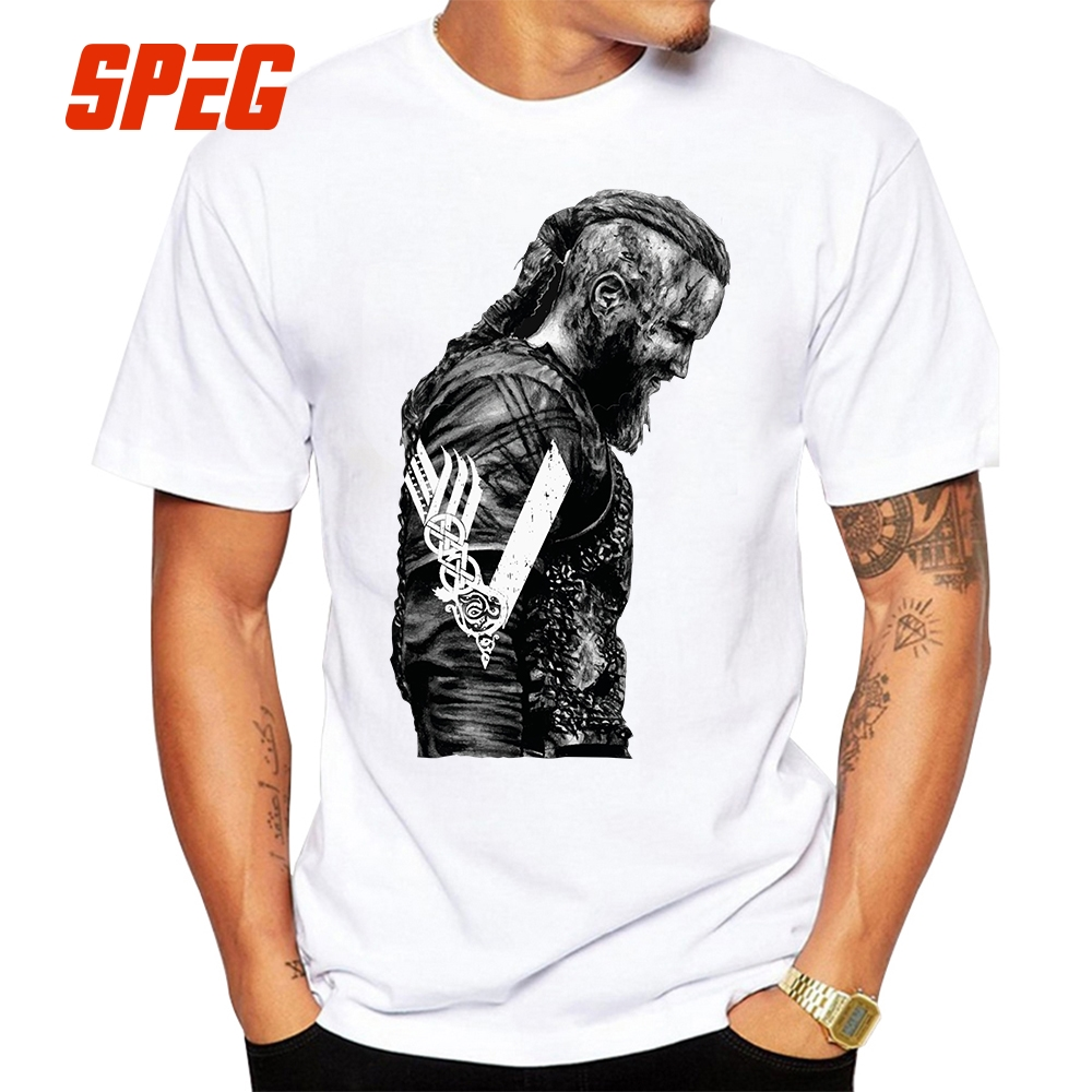 T     Shirts   KING Ragnar Lothbrok Vikings Man Organnic 100% Cotton Short Sleeve Tee   Shirts   Hot Round Collar Man   T  -  Shirt   Design
