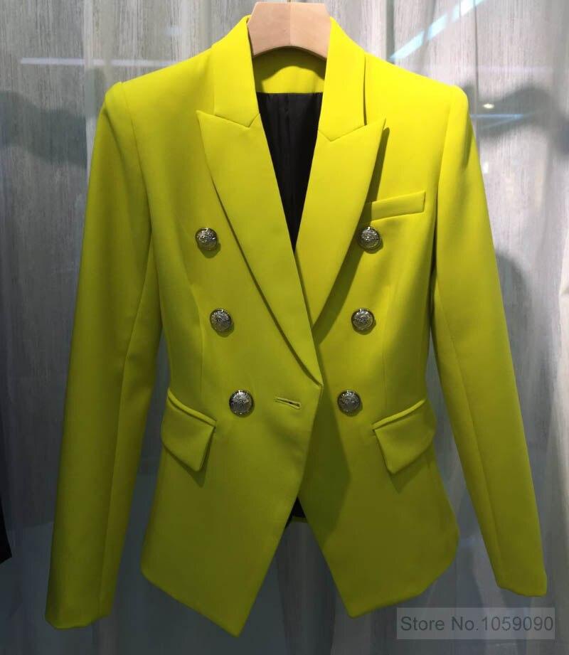 WISHBOP TOP QUALITÄT!!!! Zitrone Gelb Einfarbig Zweireiher Blazer Für Frau 2019ss Begrenzte Farbe AAA KLASSE-in Blazer aus Damenbekleidung bei  Gruppe 2
