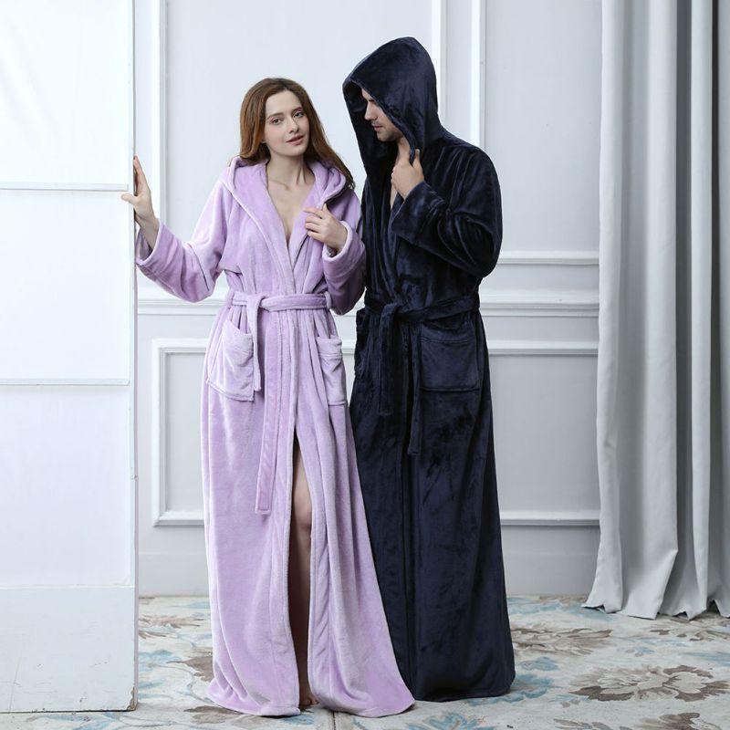 Femmes hommes amoureux thermique à capuche Extra Long flanelle peignoir épais chaud hiver Kimono Robe de bain Robes de demoiselle d'honneur Robe de chambre