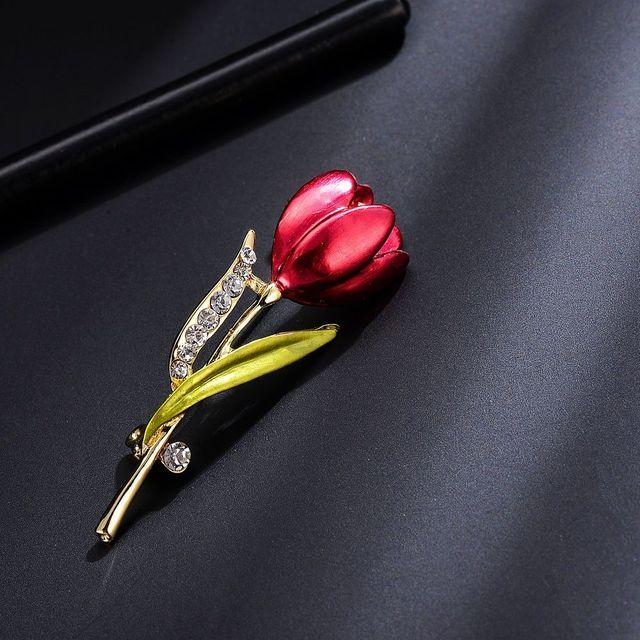 OPPOHERE Elegante Tulipano Fiore Spilla Pin di Cristallo Monili di Costume Vestiti Accessorio Spilla