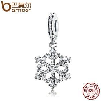 BAMOER высокое качество 925 стерлингового серебра Снежинка Подвески Fit оригинальный браслет Для женщин Подвеска ювелирных изделий SCC266