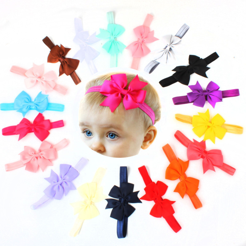 10pcs/lot New Design Kids Ribbon Bow Tie Headband DIY Grosgrain Ribbon Bow Elastic Hair Bands Hair Accessories