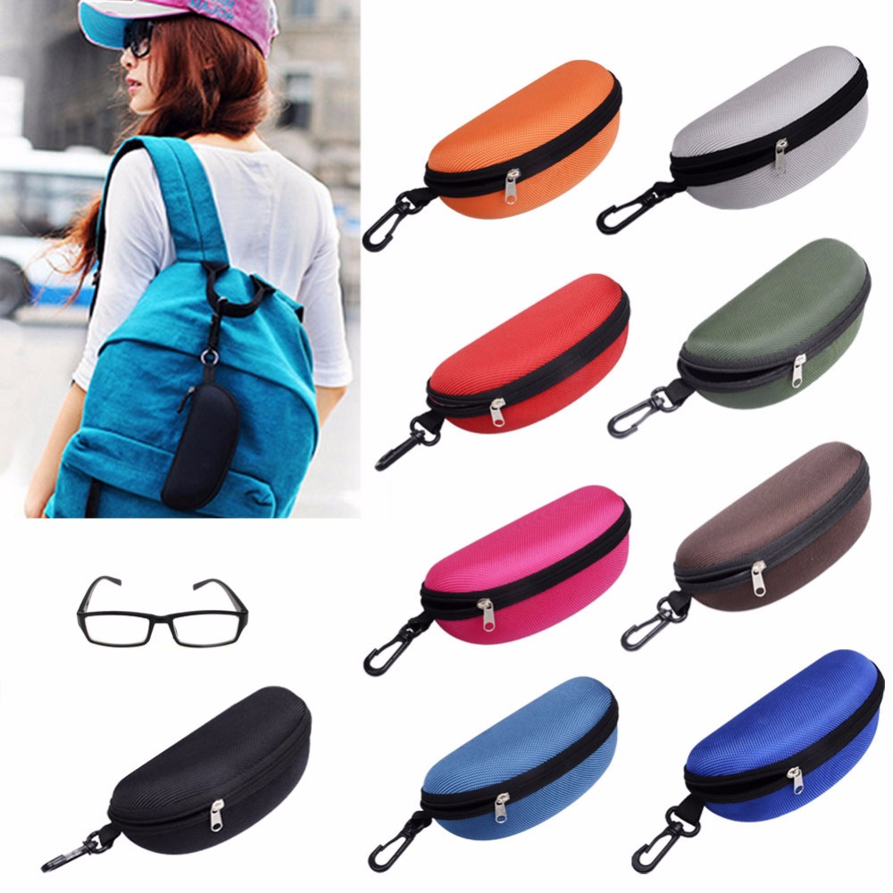 Hearty 1pc Zipper Colorful Cover Sunglasses Case For Girls Glasses Box With Lanyard Eyeglass Cases For Women Men 5 Colors Eyewear Accessories
