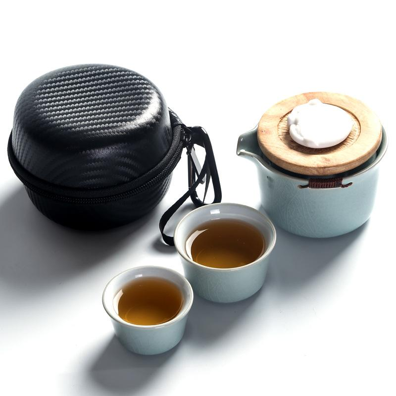 Chinese Kung Fu Tea Set Ceramic Portable Teapot Set Outdoor Travel Gaiwan Tea Ceremony Teacup Convenience Travling Gift Blue