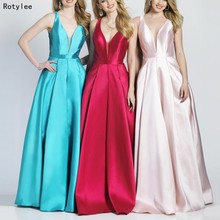 Rotylee Robe de soiree A-Line Satin Elegant Prom Dresses