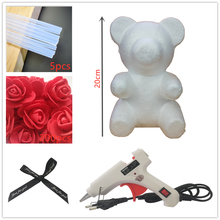 20cm Foam Rose Bear Mold DIY Artificial Flower Plastic Roses Valentines Day Gift