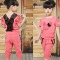 3-7 t da menina conjuntos de roupas de verão das crianças dos miúdos strass t-shirt curto + calças ternos do bebê dos desenhos animados de mickey mouse lace frete grátis