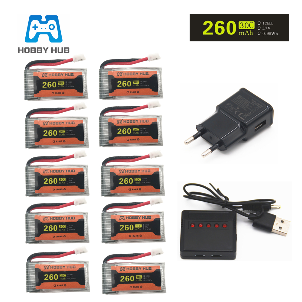 Battery For H36 3.7V 260mAh For Eachine E010 E011 E012 E013 Furibee F36 RC Quadcopter Parts 3.7v Lipo Battery
