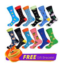 LIONZONE 12Pairs/Lot Designer Happy Socks Gifts for Men Fruits Crew Socks