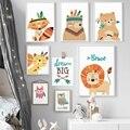 Ciervos Fox León oso búho sueño nórdico carteles y las huellas de la lona de arte de pared de pintura de la pared de Animal foto bebé niños habitación decoración de dormitorio