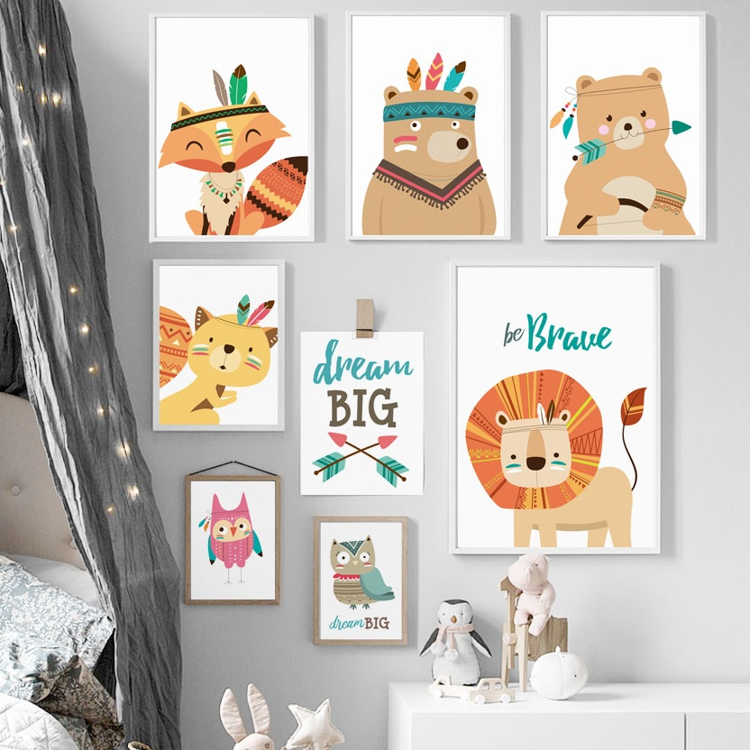 Deer Fox Lion Bear Owl Dream Nordic Plakatid ja trükised Wall Art Canvas Maalimine Animal Wall Pilt Baby Kids Room Magamistuba Decor