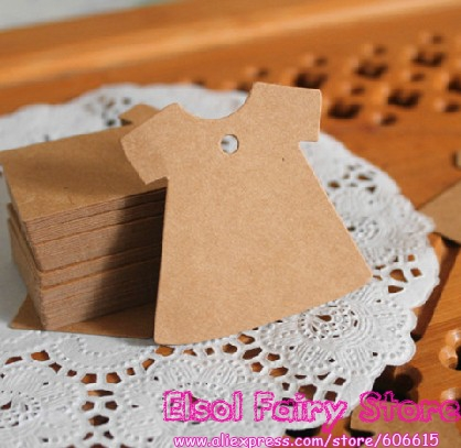 500pcs Dress Design 5x5cm (String Included) Kraft Blank Party Paper Cards Hang tag Gift tag For Party Favor Bag Candy Box Decor