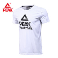 PEAK Basketball T Shirt Mens Sportswear T Shirts Hommes Basketball Print T Shirt Tops Black White
