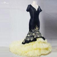 RSE189 Elegante Maniche Corte Con Scollo A V Oro Ruffles Skirt Embroideried Strech Taffettà Nero Lungo Vestito Da Promenade Della Sirena Abito Da Sera