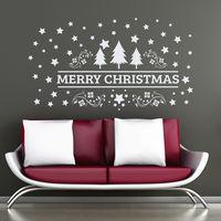 2017 Feliz Natal Árvore Decalque Da Parede Vinil Adesivo de Parede Para crianças Quarto Do Berçário Home Decor Art Decalques Da Janela Da Porta Da Loja Vinilos