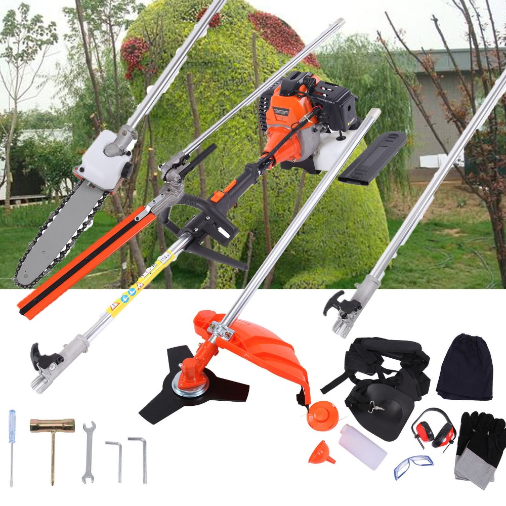 Professional 5 In 1 52cc Multi Tool Garden Trimmer Brush Cutter Hedge Chainsaw Extension Pole