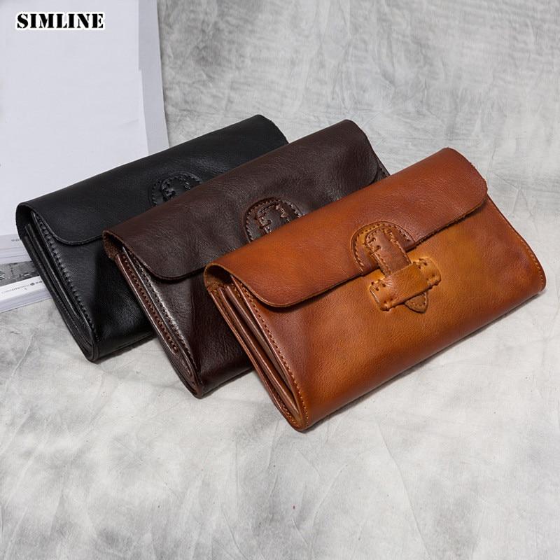 SIMLINE portefeuille en cuir véritable femmes hommes peau de vache décontracté à la main longue pochette portefeuilles sac à main pochettes pour homme femme