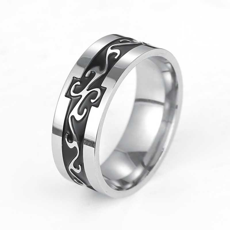 FUNIQUE титановое мужское кольцо из нержавеющей стали, винтажное геомерное мужское кольцо для мужчин, свадебные украшения, серебряное кольцо с рисунком дракона