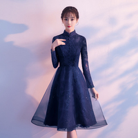 Royal Blue Cocktail Dress Elegant Embroidery Crystal Party Formal Dress Lace Zipper Black Red Knee Length A line Prom Gowns E305