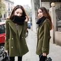 2016 Новый Зима Теплая Пальто для Женщин Плюс Размер Шерстяные Длинное Пальто для Женщин Вскользь Леди Пальто Army Green, черный, Синий