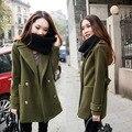 2016 Novo Inverno Casaco Quente para As Mulheres Plus Size de Lã Casaco Comprido para As Mulheres Casuais Senhora Casaco Verde Do Exército, preto, Azul