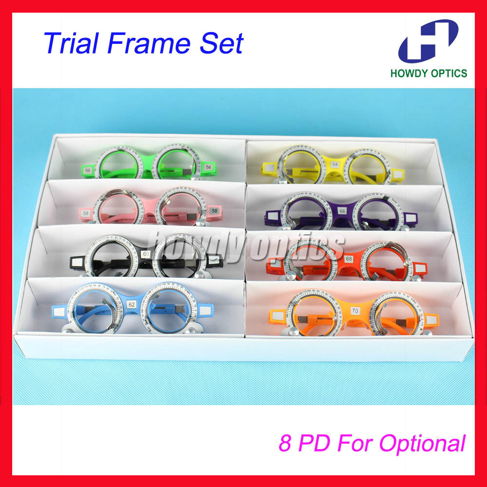 8pcs Quality TF A Optical Optometry Trial Frame Set Fixed PD 56 58 60 62 64