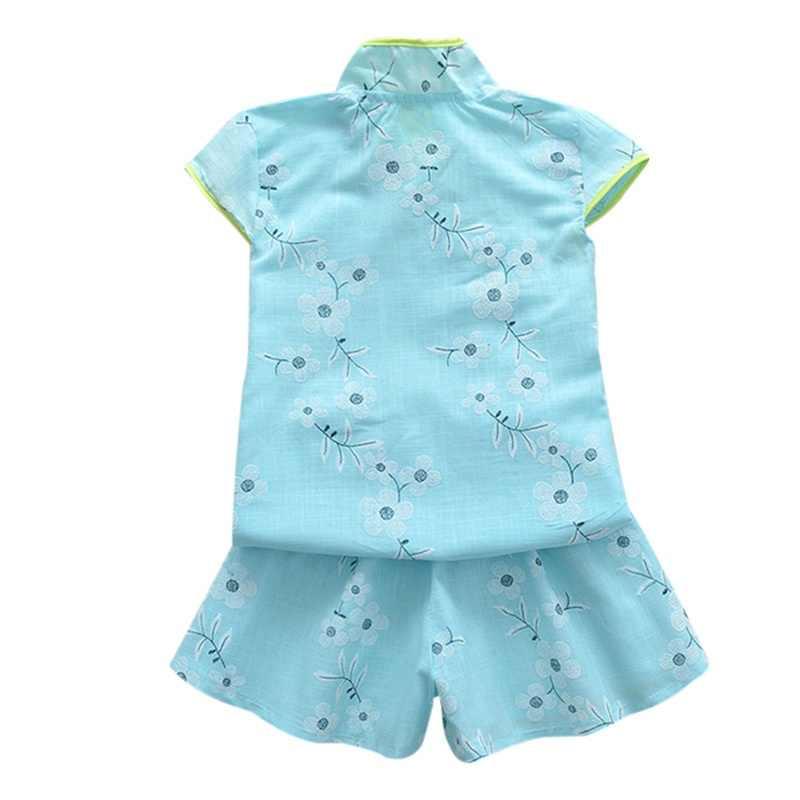 夏の花 Tシャツトップス + ショーツ幼児キッズガールズ服中国風のチャイナ綿唐スーツセット 2 個