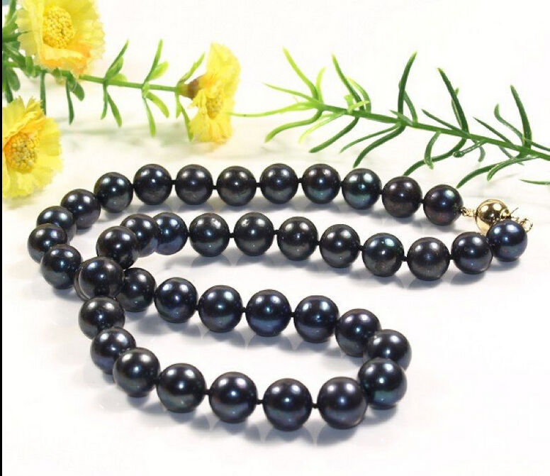 2016 NEW HOT ÉNORME 10-11mm + + Tahiti Perles Noires Collier 18 ''BOÎTE r