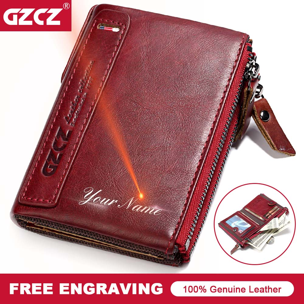 купить GZCZ Brand Wallet Women Genuine Leather Vintage Small Coin Purse Double-Zipper Female Vintage Card Holder Money Bag Portomonee по цене 1001.6 рублей